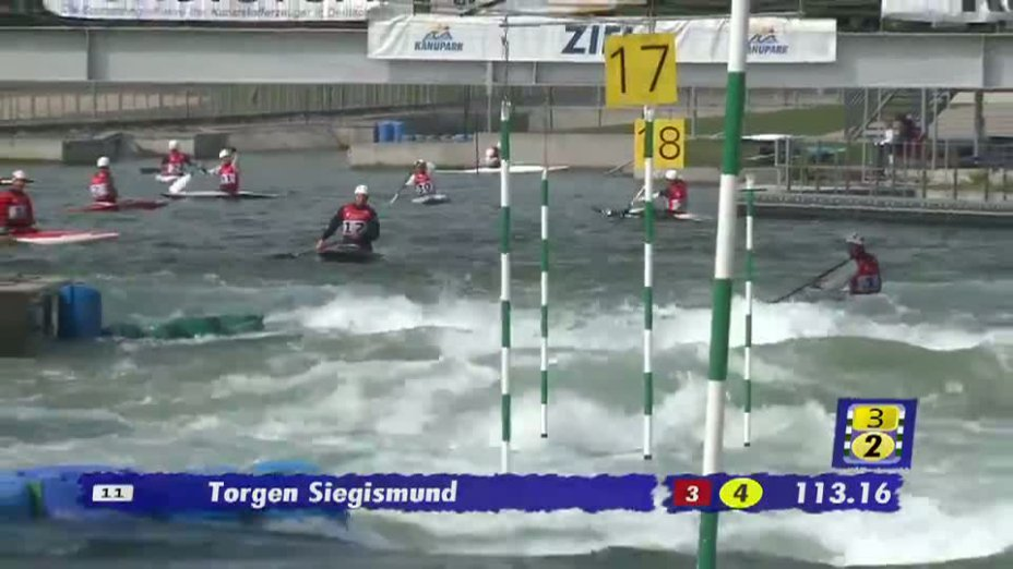 Herren C1 1. Lauf 21.04.2013 Qualifikation Kanu-Slalom in Markkleeberg