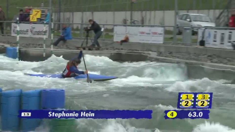 Juniorinnen C1 1. Lauf 21.04.2013 Qualifikation Kanu-Slalom in Markkleeberg