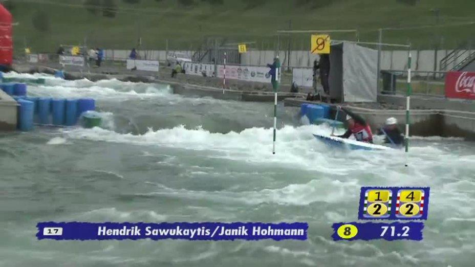 Junioren C2 1. Lauf 21.04.2013 Qualifikation Kanu-Slalom in Markkleeberg